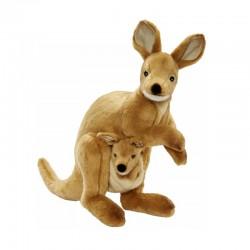 Peluche Wallaby avec bébé 35 cm