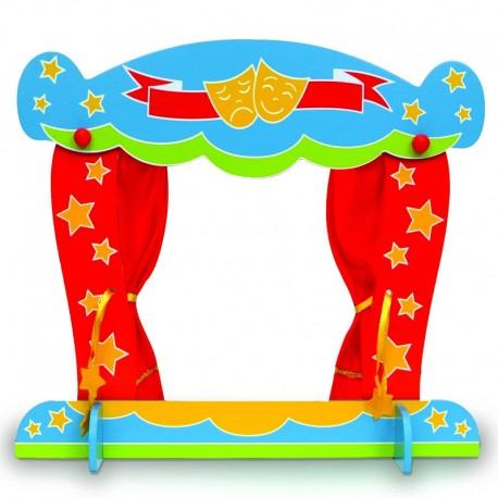 Théâtre de Marionnettes en bois peint et rideaux en tissus pour marionnettes à doigts.